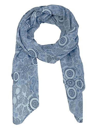 Zwillingsherz Seiden-Tuch für Damen Mädchen Paisley Elegantes Accessoire/Baumwolle/Seiden-Schal/Halstuch/Schulter-Tuch oder Umschlagstuch einsetzbar - blau