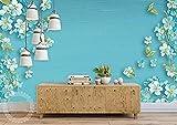 Murales de pared dibujados a mano con flores de jardín verde Pared Pintado Papel tapiz 3D Decoración dormitorio Fotomural de estar sala sofá mural-200cm×140cm