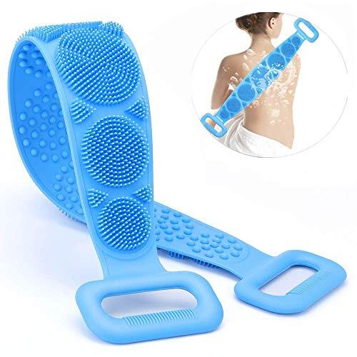 Cepillo de masaje exfoliante de espalda de silicona premium para ducha para hombres y mujeres, con gancho para arriba, azul