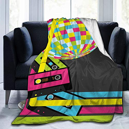 2021 Skin-Friendly Ultra-Soft Fleece Blanket for Adult Anti Fleece Blanket,Retro Party Theme Disco Ball 80s Style Audio Cassette Tapes Colorful Stripes,Soft Comfortable Sofa Throw Blanket 60'x50'