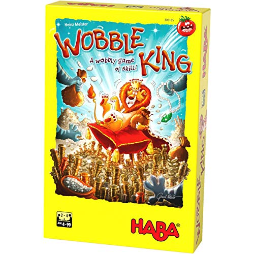 HABA Wobble King - Fast Paced Push Your Luck Wobbly Game of Balance and Dexterity (Made in Germany)