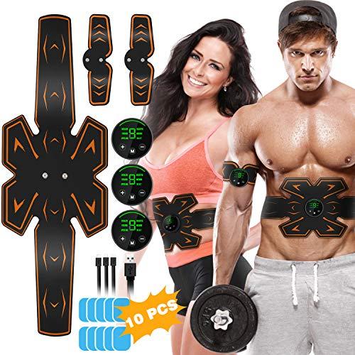 Lovebay EMS Trainingsgerät Bauchmuskeltrainer USB Wiederaufladbar mit 6 Simulationsmodi 9 Intensitäten, für Damen Herren zur Muskelaufbau und Fettverbrennung
