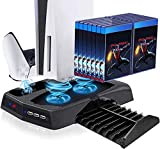 Vertical Stand with Cooling Fan for PS5 Console and PlayStation 5 Digital Edition, Donop Charging Station Dock with Dual Sense Controller Charger Ports and Retractable Game Storage