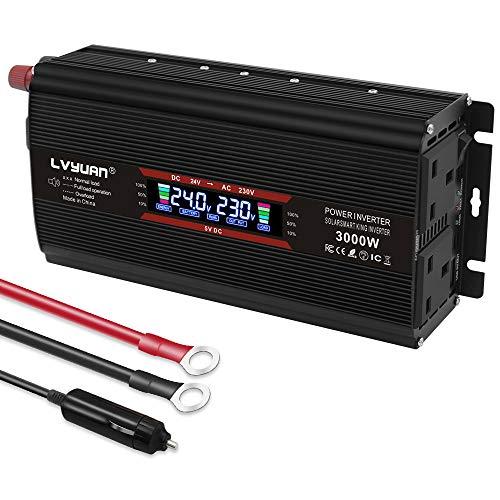 LVYUAN Power inverter 1500W / 3000W 24V to AC 240V LCD Dual USB voltage converter