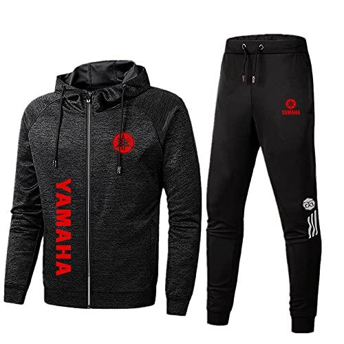 CONVERMPU Herren Sportswear Anzug Ya.M.A-ha Logo Kapuzenjacke und Sporthose, Outdoor Casual Zip Jogginganzug Cardigan Trainingsanzug Mode/Schwarz/L