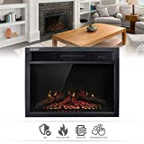 Wall Insert Electric Heat Fireplace Heater w/Remote LED Log Flame (23')