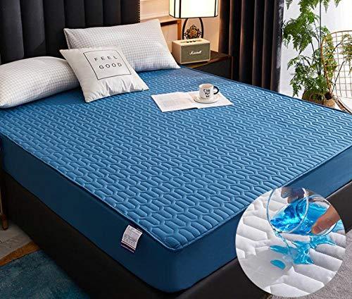 XLMHZP Topper viscoelastico,Sábana Ajustable de algodón con una Funda de colchón de Banda elástica Sábana de Cama de Color sólido Colcha de tamaño queen-22_150x200cm+30cm