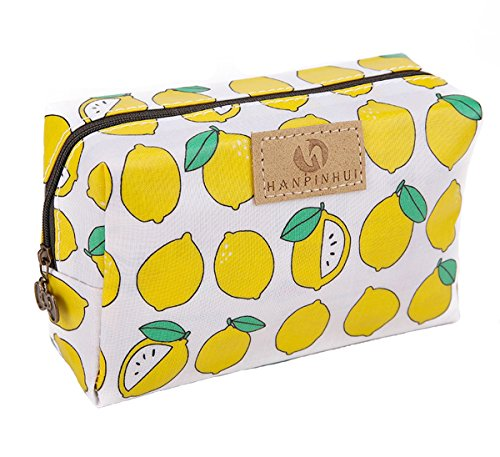 Cute Travel Makeup Pouch Cartoon Printed Toiletry Cosmetic Bag for Girls, Women (Lemon)