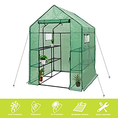 "Deluxe Green House 56"" W x 56"" D x 77"" H,Walk in Outdoor Plant Gardening Greenhouse 2 Tiers 8 Shelves - Window and Anchors Include!(Green)"