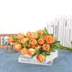 cn-knight dried flower artificial rose 6pcs 24 inch long stem silk rose with 5 flowers for wedding diy bridal bouquet home decor centerpiece arrangement(orange)
