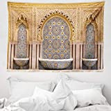 ABAKUHAUS Marokkanisch Wandteppich & Tagesdecke, Rabat Hassan Tower, aus Weiches Mikrofaser Stoff Wand Dekoration Für Schlafzimmer, 150 x 110 cm, Apricot Blassbraun