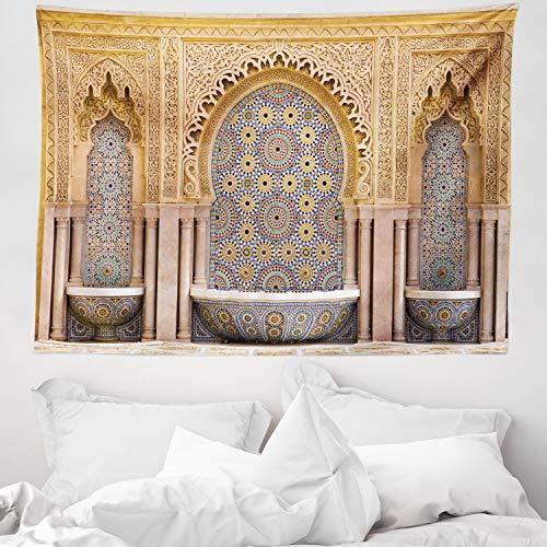 ABAKUHAUS Marroquí Tapiz de Pared y Cubrecama Suave, Fuente Marroquí Típica de Mosaicos en Rabat Cerca de Torre Hassan, Lavable Colores No Destiñen, 150 x 110 cm, Marrón Claro
