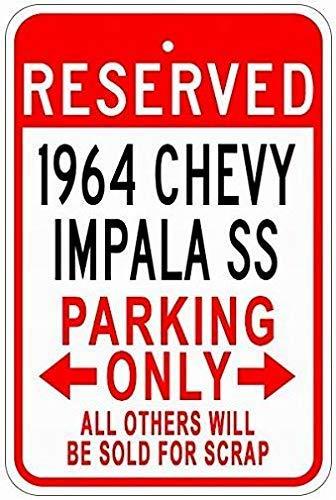 mengliangpu8190 Aluminum Sign, Tin Sign Metal Signs 1964 64 Chevy Impala Ss Tin Parking Sign - 8 x 12 Inches Tin Street Sign