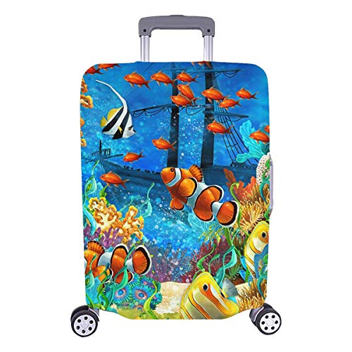 """InterestPrint Tropical Coral Reef Fishes Ocean Sea Life Travel Luggage Cover Suitcase Baggage Protector Fits 26""""-28"""" Luggage"""