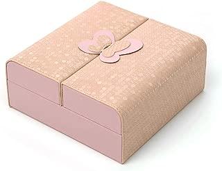 FIND_K Travel Jewelry Box, Portable Travel Jewelry Organizer PU Leather Ring Holder Travel Jewelry Box Pink