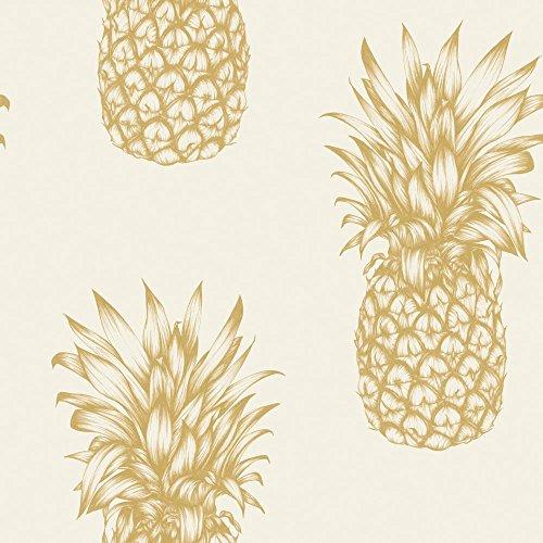 Arthouse, Copacabana Gold Pineapple Wallpaper, Modern Décor
