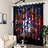 Blackout Curtains Set of 2 Blackout Thermal Insulated Eyelet Curtain Noise Reducing Curtain Blackout Curtains for Kids Bedroom Living Room 75 x 166cm Avengers