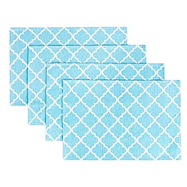 """Placemats, Placemats for Dining Table, Place Mats for Kitchen Table, Woven Cloth Quatrefoil Decor Table Mats Set of 4, Perfect for Spring/Summer Party Decor, Size 13"""" x 19"""", Color Teal Blue Placemats"""