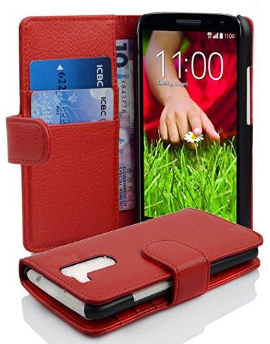 Cadorabo Hülle für LG G2 Mini in Inferno ROT – Handyhülle aus Strukturiertem Kunstleder mit Standfunktion & Kartenfach – Hülle Cover Schutzhülle Etui Tasche Book Klapp Style