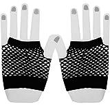 Guanti a rete senza dita in nylon Guanti in maglia elasticizzata da polso per donna Costume da donna Accessori Corto nero