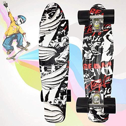 JIEJIE Pp Kunststoff 22 Zoll Four Wheel Cruiser Brett, Kinder Straße Skateboard, Skateboard QIANGQIANG (Color : Green)