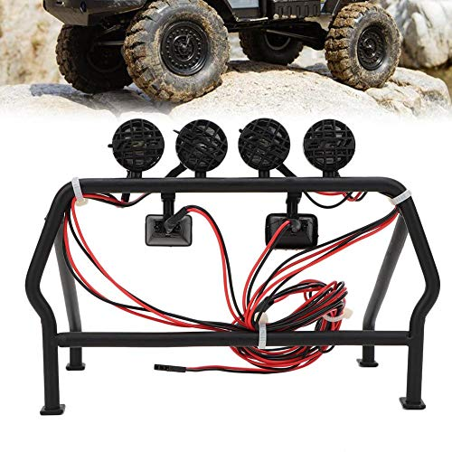 RC Car Metal Roll Cage,4WD 1/10 Tf2 Trail Finder Metal Roll Stand with 6 LED Lights for SCX10 1/10 Axial RC Car Metal Roll Cage