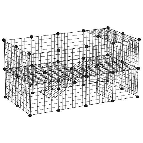 PawHut Recinto in Metallo per Piccoli Animali Domestici con 36 Pannelli di Metallo da Montare Secondo Forma e Configurazione che Preferisci e con Porta