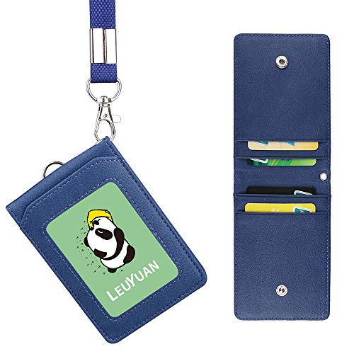 LEUYUAN Porta Badge con Cordino, ID Carte Porta Badge in PU Pelle con 1 finestra ID e 4 fessura per carte, ID Card Badge Holder con Clip di sicurezza e Portachiavi (Blu)