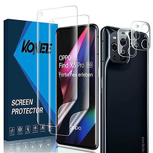 KONEE Bildschirmschutzfolie Kompatibel mit Oppo Find X3 Pro 【2 + 2 Stück】 + Kamera Panzerglas, [Anti-Kratzen, Fingerabdruck Kompatibel] Flexibler TPU Schutzfolie für Oppo Find X3 Pro