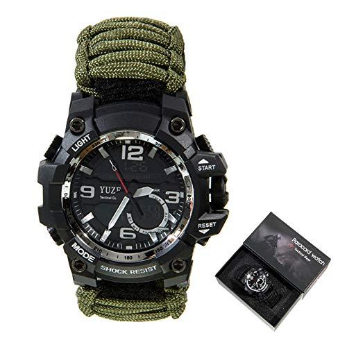 XCHUNA Outdoor Survival Armband, Multifunktionales Outdoor Survival Kit, EDC Camping Sicherheitsausrüstung Rettungsseil Armband, Sicherheit Paracord Uhrenkompass,A