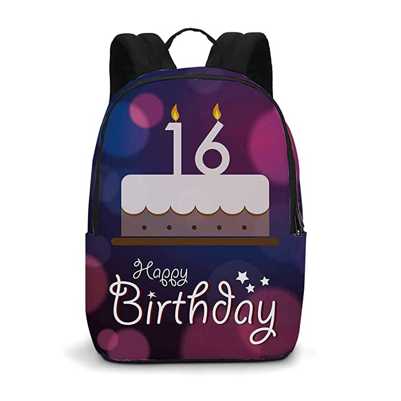 16th Birthday Decorations Modern simple Backpack,Cake Candle Anniversary of Birth Best Wishes Young Image for school,11.8