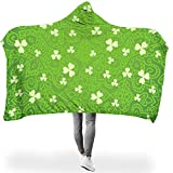 Dofeely St Patrick's Day PrintedHome Hooded Blanket Hypoallergen Bequemes Schlafdecke Wohndecke Winter TV Computer Kapuze Mantel Für Erwachsene Oder Kinder White 150x200cm