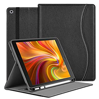 HFcoupe 10.2 Case for iPad 8th Generation 2020 / iPad 7th Gen 2019 Premium Multiple Viewing Angles Stand Leather Folio Protective Cover with Apple Pencil Holder Auto Sleep/Wake -Black