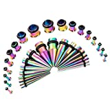 CABBE KALLO 36PCS Ear Gauge Stretching Kit Stainless Steel Tapers and Plugs Set Eyelet 14G...