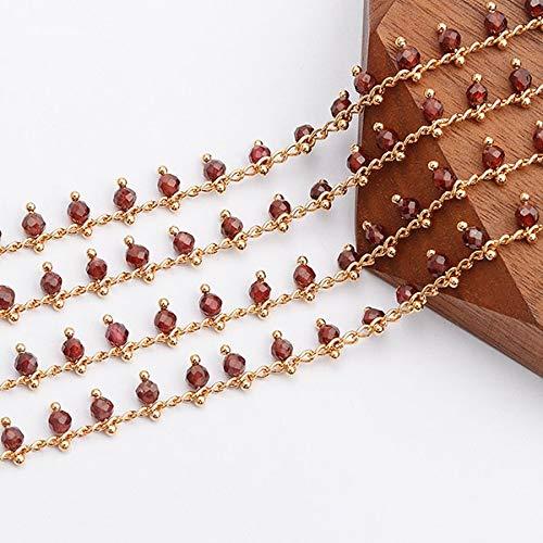 C82, Accesorios de joyería, Cadena de Bricolaje, Chapado en Oro de 18 K, 0.3 micrones, Piedra Natural, Fabricación de Joyas, Collar de Cadena de Bricolaje, 1 M/Lote