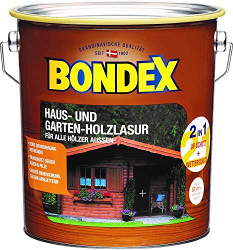Bondex Haus und Gartenlasur Eiche Hell 4L Holzlasur, Lasur für Außen, 2in1 UV-Schutz + Wetterschutz