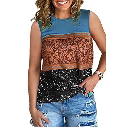 Lente en zomer dames etnische stijl bedrukt losse ronde hals mouwloos vest casual korte mouwen T-shirt dames top - blauw - 5XL