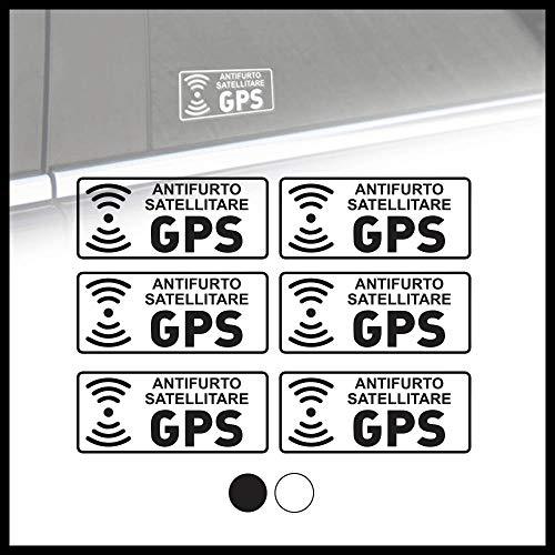 Adesivi di sicurezza auto Allarme GPS in vinile prespaziato - Set 6 adesivi 7x3 cm Bianco o Nero- Kamiustore (Bianco)