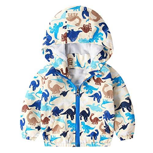 Chaqueta con Capucha para Niños Niñas Impresas Abrigos Dinosaurio de Dibujos Animados Sudadera Prendas de Abrigo Trajes de Otoño y Primavera
