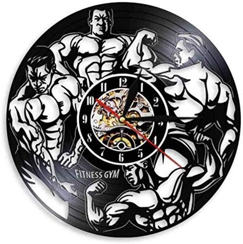 TIANYOU Reloj Reloj Hombres S Salud Fitness Gimnasio Entrenamiento de Pared Reloj Musculoso Hombre Culturista Vinilo Registro Pared Reloj Gimnasio Decoración Del Hogar Niño moderno