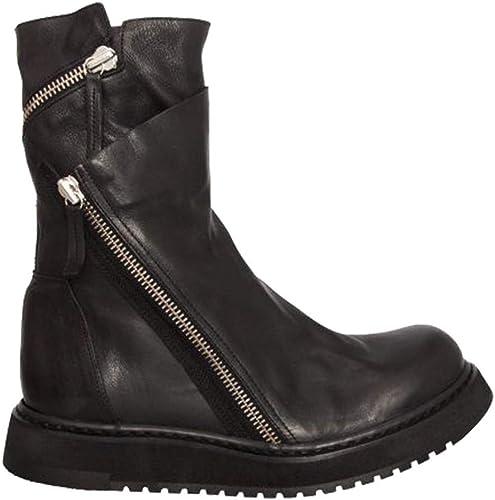 ZHRUI botas Laterales de Cuero Genuino con Cremallera para Hombre Suela Suave Antideslizante botas de Confort duraderas (Color   negro, tamaño   EU 42)
