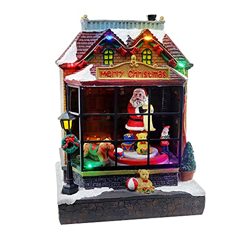 Christmas Village Santa Shop Animated Pre-lit Musical Winter Snow Village Perfect Addition to Your Christmas Indoor Decorations & Christmas Village Displays