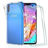 KEEPXYZ Funda para Samsung Galaxy A70 / A70s + 2 Pcs Protector de Pantalla para Cristal Templado, Flexible Suave Silicona Transparente TPU Carcasa + Vidrio Templado para Samsung Galaxy A70 / A70s
