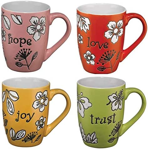 Colorful Christian Coffee Mugs Set Indefinitely of Hope Shipping included Trust Joy Love Coff 4