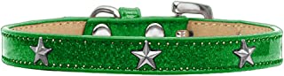 Mirage Pet Products Star Widget Dog Collar, Size 14, Emerald Green/Silver