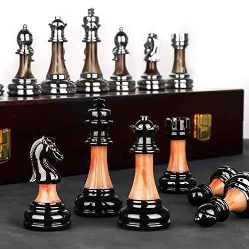 Cutfouwe Schachbrett edel,Schachbrett Holz hochwertig,schachspiel Gross,Schach für anfänger,Für Kinder Und Erwachsene, ABS-Kunststoff+Metall (verschlimmert)
