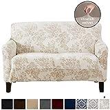 Great Bay Home Velvet Plush Stretch Loveseat Slipcover. Velvet Loveseat Furniture Protector, Soft Anti-Slip, High Stretch (Loveseat- 2 Seater, Silver Cloud - Toile)