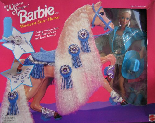 Barbie Western Stampin Doll and Western Star Horse Set (1993)