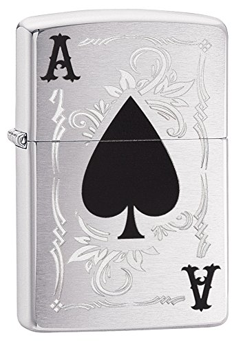 Zippo ACE of Spade Feuerzeug, Messing, Silber, One Size