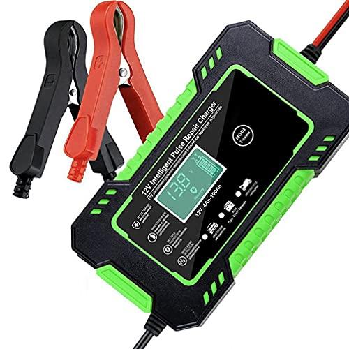Deliu Cargador de batería de Coche 12V 6A Reparación de Pulso para automóvil Carga rápida de energía Batería Seca húmeda Pantalla LCD Digital Verde UE
